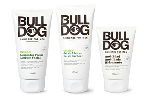 Bulldog Cuidado Facial para Hombres - Kit Rutina Cuidado Facial Hidratante Anti-Edad , Gel Limpiador Facial 150 ml + Gel de Afeitar 175 ml + Crema Hidratante 100 ml