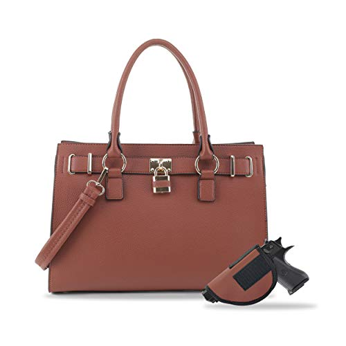 Concealed Carry Purse - Dina Lock Concealed Carry Satchel (Brown)
