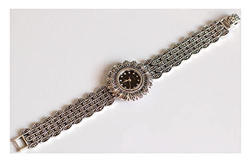 CHXISHOP Reloj de Plata esterlina de la Mujer Reloj de Cuarzo con Incrustaciones de Piedras Preciosas con Incrustaciones de Girasol Reloj de Pulsera de Girasol 925 joyería de Black-M