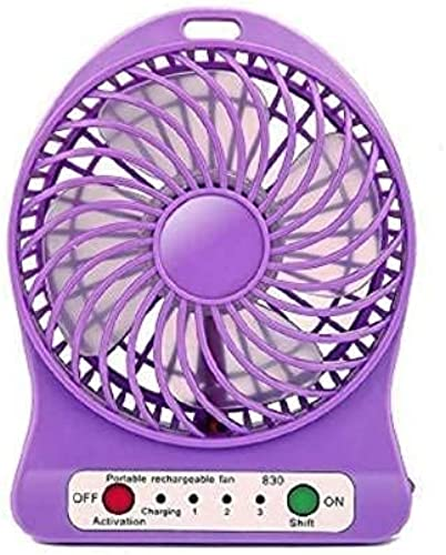 COOL AIR PORTABLE RECHARGEABLE USB MULTI FUNCTION 4 INCH TABLE DESK FAN FOR HOME KITCHEN OFFICE MULTICOLOUR 4 Blade Table LED LIGHT FAN
