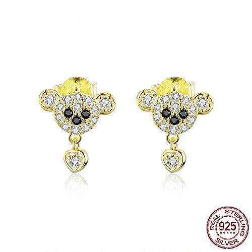 AdronQ Pendientes De Plata De Ley 925 con Osos De Oro Joyas De Circonitas Brillantes Pendientes Hipoalergénicos para Niñas
