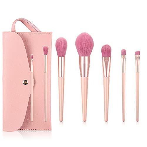 7 pinceaux de maquillage rose pinceau à ombre à paupières outils de beauté ensemble de maquillage avec trousse de maquillage