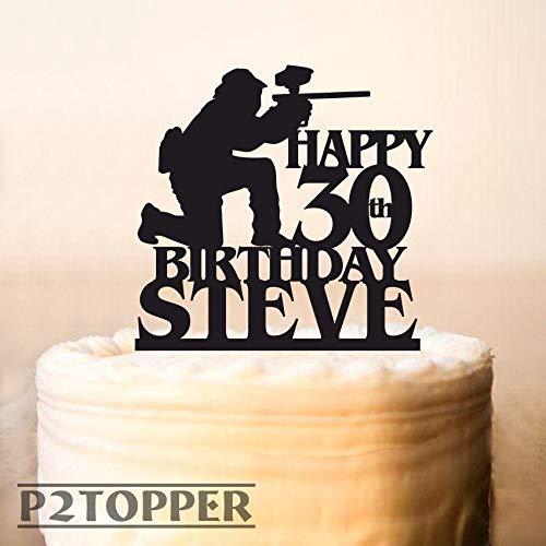 Paintball Character Cake Topper,Paintball Cake Topper,Paintball Gun & Player Birthday Cake Topper,Birthday Cake Topper,Cake Topper Decor0442