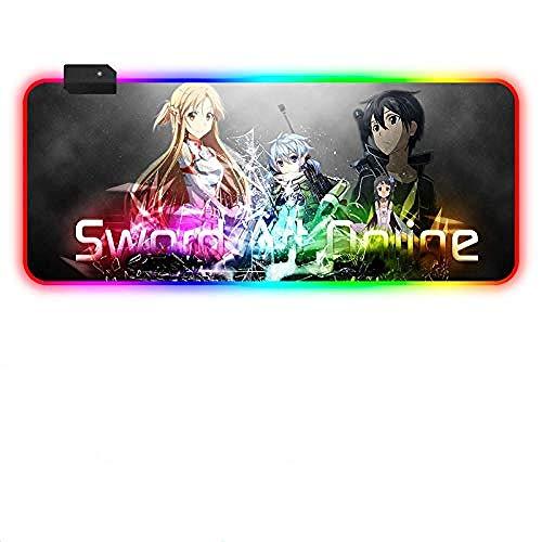Alfombrillas de ratón Anime Sword Art RGB Alfombrilla de ratón de Gran tamaño para Juegos Luminosa LED XXL Alfombrilla de ratón para Teclado Ordenador Alfombrilla de ratón para PC-800×300 MM