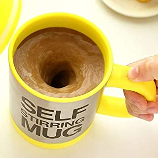 Automatic Electric Self Stirring Mug Coffee Mixing Drinking Cup Stainless Steel 350ml (Yellow)