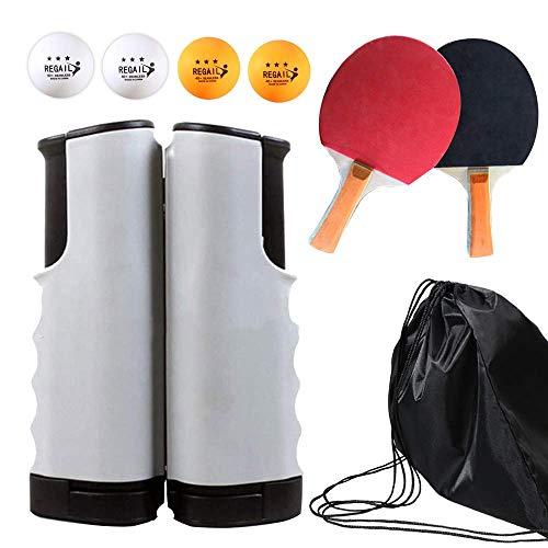 Juego de Red de Tenis de Mesa, 4 Pelotas de Ping Pong, 1 par de Palas de Tenis de Mesa, Juego de paletas de ping pong con red retráctil, accesorios para la mesa de ejercicios para el hogar completos