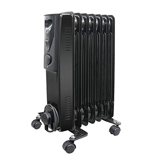 NRG 7 Fin Oil Filled Radiator Portable Electric Heater - Adjustable Thermostat-3 heat setting 1.5KW Black