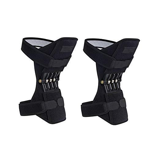 Honglimeiwujindian Outdoor Pads Knie Booster Einstellbare Joint Support Pad Sporttraining Protektoren 1 Paar Frühling Knieschützer Stützstreben für Gelenk (Farbe : Black, Size : One Size)