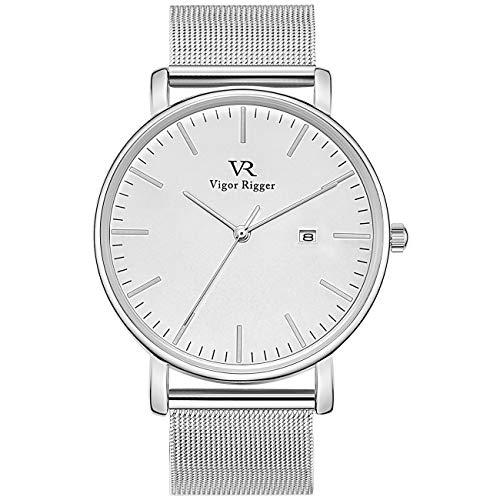Vigor Rigger Herren Quarzuhr ultradünne Armbanduhr für Herren Classic Minimalistisches Design mit Datum Kalender und Edelstahlband