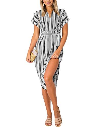 Yoins Damenkleid mit V-Ausschnitt, Blumenmuster, kurze Ärmel, Midi-Kleid, Sommerkleid, lässig, Kleid mit Schlitz Gr. Small, weiß gestreift