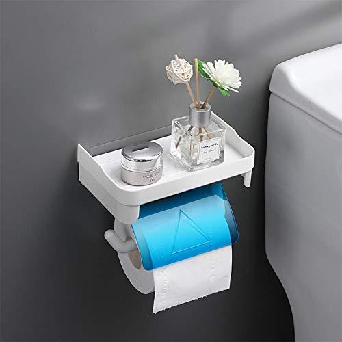 Portarrollos de Papel, Caja de Papel higiénico Portarrollos de Papel higiénico Estante de Bombeo Perforación Libre Montaje en Pared Soporte para pañuelos Resistente al Agua, Fuerte Adhesivo-2