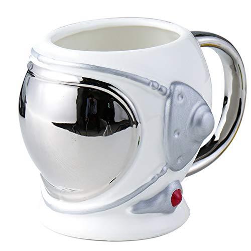 Taza 3d Creativa Taza Con Forma De Casco De Astronauta Gorra De Aviación Taza De Cerámica Taza De Café Taza De Agua De Gran Capacidad 501-600ml Plata