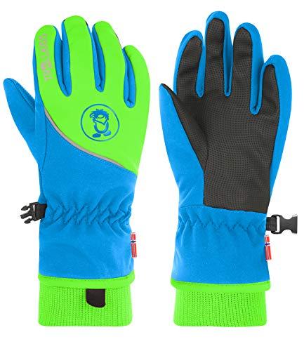 Trollkids Trolltunga Wasserabweisende Handschuhe, Mittelblau/Grün, Größe 4,5; 7-8 Years
