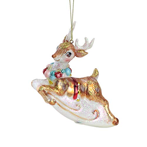 Northlight 5.25' White and Red Glittered Reindeer Glass Christmas Ornament