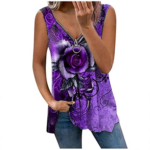 LalalukaTShirtDamenBluse Blumen Druck Reißverschluss Schulterfrei V-Ausschnitt Oberteil BluseSommer FrauenTshirt T-ShirtBlusenTunikaTopBluseshirtT-ShirtHemdLongshirtKurzarmshirt