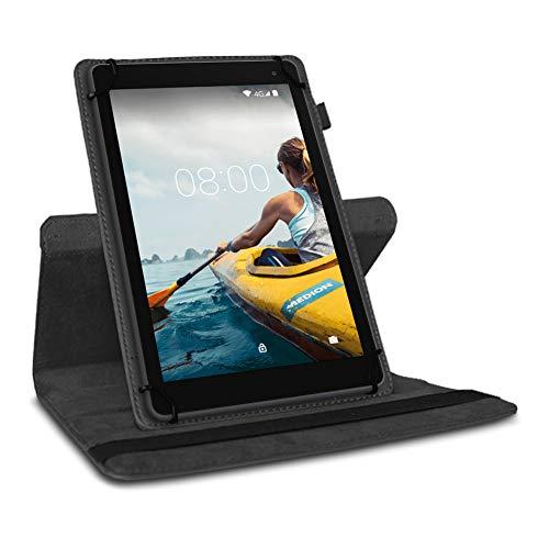 UC-Express Tablet Hülle kompatibel für Medion Lifetab P10710 P10612 P10610 P10603 P9701 P9702 P10606 P10602 X10605 X10607 P10506 Standfunktion 360° Drehbar, Farben:Schwarz