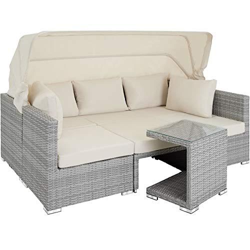 TecTake 800771 Lounge in Rattan, Resistente ai Raggi UV, Parasole Ripiegabile, Schienale Regolabile, Componibile con Versatilità, Cuscini -Diversi Colori (Grigio Chiaro | No. 403712)