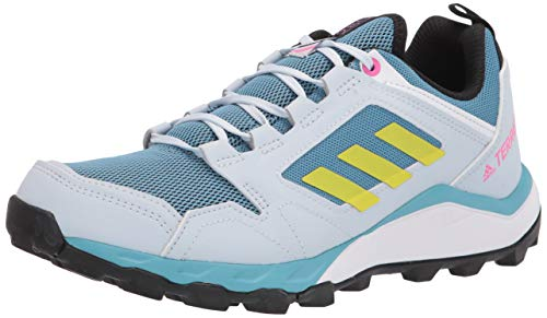 adidas Women's Terrex Agravic Trail Running Shoes Hiking, Hazy Blue/Acid Yellow/Crystal White, 7.5