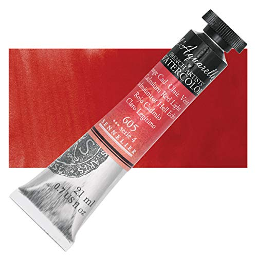 Sennelier L'Aquarelle French Watercolor, 21ml Tube, S4 Cadmium Red Light