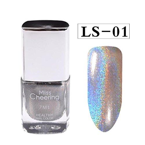 Fulltime 1PC 7ml Nail Powder Pas de vernis à ongles Art Glitter Silver (A)