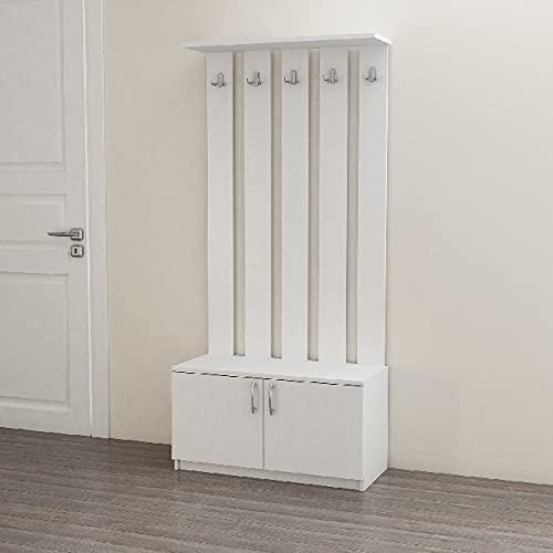 Homemania Deniz-Mobile da ingresso, con porte, ganci, mensole, in legno, 85 x 37 x 181,8 cm, colore: bianco, Truciolare Melaminico, 85 X 37 X 181.8cm