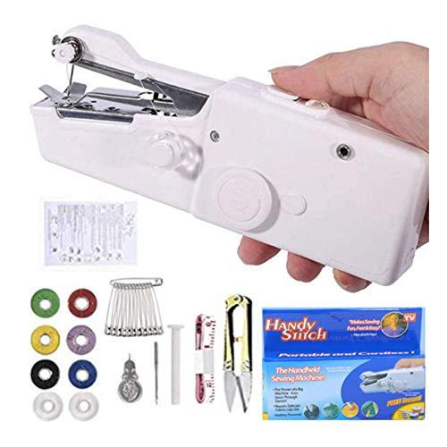 Máquina de coser de mano, Jsdoin Mini práctica máquina de coser portátil, mini máquina de coser inalámbrica, reparación rápida para ropa, vaqueros, cortinas, cuero y bricolaje