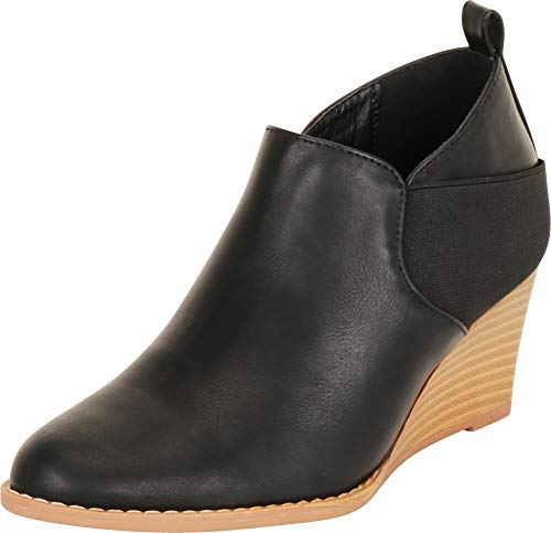 Cambridge Select Damen Stretch Slip On Chunky Mid Wedge Shootie Ankle Bootie, Schwarz (Schwarz (Black Pu)), 36.5 EU