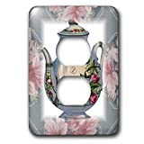3dRose lsp_37380_6 Victorian Flower Teapot On Blue Pink Floral Background 2 Plug Outlet Cover