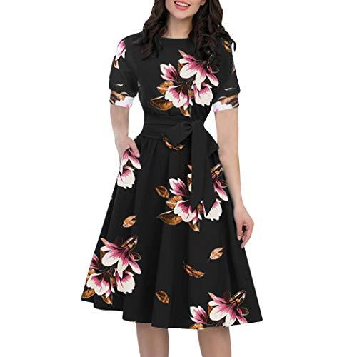 Luotuo A-line Kleid Frauen Sommer Mode Elegante Vintage Laternenärmel Abendkleider O-Ausschnitt halbe Ärmeltasche Schärpen knielangen Freizeitkleid