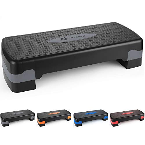 ActiveForever Entrenamiento Ajustable Aerobic Stepper en Fitness y Ejercicio Step Platform Trainer Stepper w/Risers Ajuste 10cm / 15cm (Azul Negro)