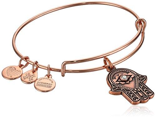 Alex and Ani Women's Hand of Fatima Rose Gold Charm Bangle Bracelet, Expandable