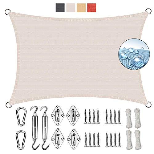GOUDU Rectangular Vela de Sombra 2.5x7.5m Toldos IKEA Impermeable Kit de Fijación para Jardín Patio Terraza Balcón, Blanco