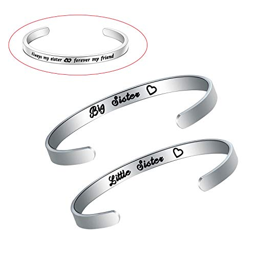 claires friend sisters HOLLP Big Sister Middle Sister Little Sister Bracelet Always My Sister Forever My Friend Cuff Bangle Sister Bracelet for 3 2 Sister Gifts from Sister or Brother