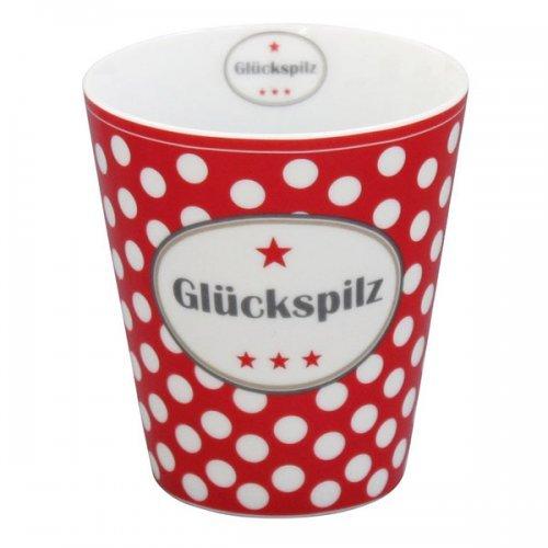Krasilnikoff - Kaffeebecher/Kaffeetasse - Mug - Glückspilz - Porzellan - Rot/Weiss - H: 10cm Ø 8,7cm