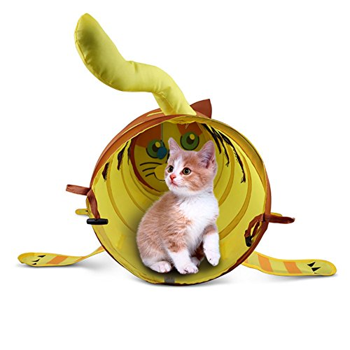 Hete-supply Huisdier Kat Huis Tent, Tunnel en Playmat Kat Speelgoed, Kat Vorm Inklapbare Tunnel, Multifunctionele huisdier tunnel, hondenhok en huisdier speelgoed, voor Kat/Kitten/Konijnen/Fretten en Honden