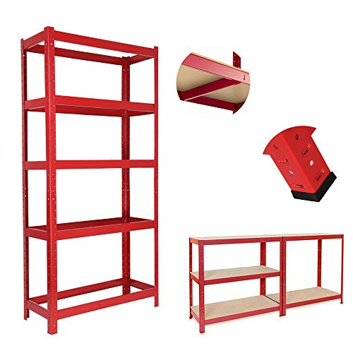 5 Tier Heavy Duty Boltless Garage Shelving Unit: 150 x 70 x 30cm, Red Racking Storage Shelves, 175KG Per Layer, 875KG Capacity, For Kitchen, Workshop, Office, Shed