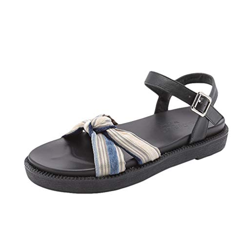 Wenchuang Sandalias para Mujer Sandalias de Verano Plano Tobillo Hebilla Zapato de Playa Moda Romanas Fondo Grueso Sandalias (Noir#3, 39 EU)