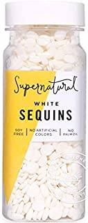 White Sequin Sprinkles by Supernatural | All Natural | Gluten Free | 2.5 Ounce