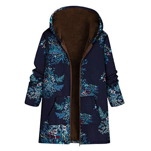 Andouy Damen Faux-Fleece-Mantel Warme Mode Print Reißvers Outwear Übergroße Jacken mit Taschen(2XL.Marine)