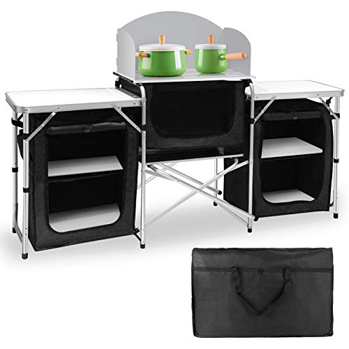 Seeutek Camping Kitchen Table Aluminum Portable Outdoor Cooking Table Foldable Camp Table with Windscreen and 3 Storage Cupboards Multifunctional for BBQ, Party, Picnics and Outdoor Activities Black