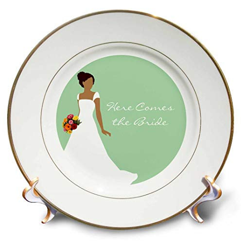 3dRose Here Comes the Bride - African American Bride Mint Green - Porcelain Plate, 8-inch -  cp_165867_1