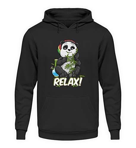 generisch Relax bekiffter Pandabär kiffen THC Bong Cannabis Kiffer Pulli Hanf - Unisex Kapuzenpullover Hoodie -XL-Jet Schwarz