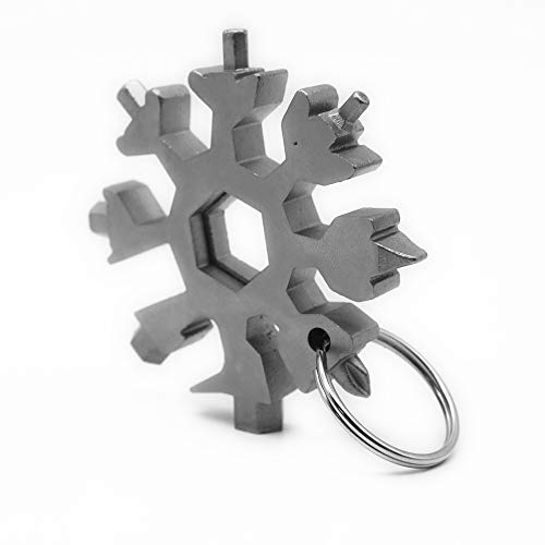 18-in-1 snowflake multi tool stainless steel,phillips and flat head screwdriver, bottle opener,portable,keychain attached,perfect christmas and birthday gift.