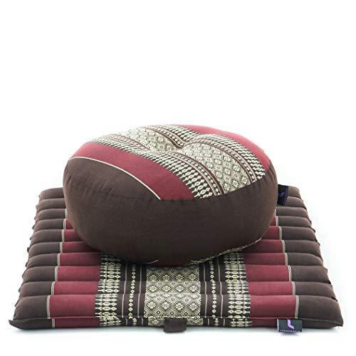 Leewadee Meditationsset Yogaset aus Meditationskissen Zafu und Kleiner rollbarer Sitzmatte Zabuton Ökologisches Naturprodukt, 50x50x18 cm, Kapok, braun rot