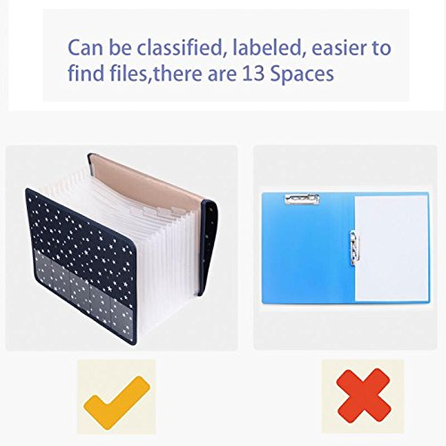 Expanding File Folder Document Organizer/File Organizer A4 Accordion Expandable Filing Folders with Cover 13 Pockets Expander Storage for Office/Business/School/Family Bill Paperwork Photo #3