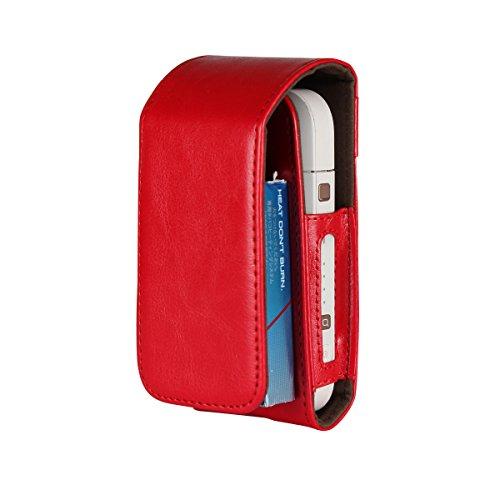 Lelesta Custodia per Sigarette Elettroniche iQOS, Portasigarette Custodia in Pelle Sintetica, in similpelle, Custodia Protettiva (Rosso)