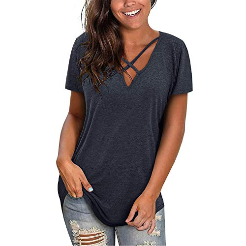KYZRUIER Womens Casual Criss Cross V Neck Tops, Solid Plain T-Shirt Short Sleeve Tunic Blouse Tops