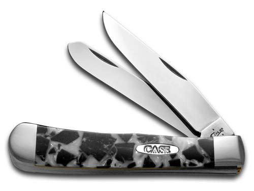 CASE XX Chipped White Pearl and Black Pearl Corelon Trapper Stainless Pocket Knife Knives