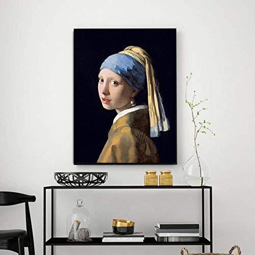 Holland Jan Vermeer MÄDCHEN mit Perlenohrringen Ölgemälde Poster Wandbild Leinwand Bild Wohnzimmer Wohnkultur rahmenlose Leinwand Gemälde A114 50x70cm