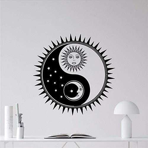 Waofe Soleil Et Lune Yin Yang Sticker Soleil Étoiles Vinyle Autocollant Soleil Décoration Murale Art Mural Enfants Adolescent Fille Garçon Chambre Wall Sticker 57 * 57Cm